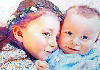 Primrose & Stanley - Oil on canvas