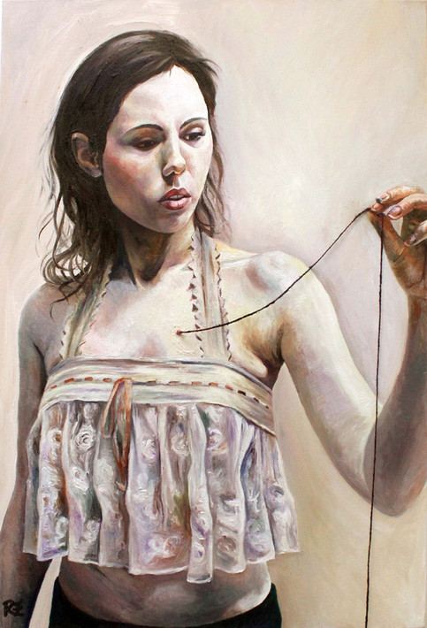 How long is a piece of string - Oil on canvas with string exiting the canvas