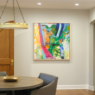 Lush colored painting brings contemporary visual interest to the kitchen