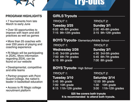SPRING 2020 TRYOUTS -  Click here for details