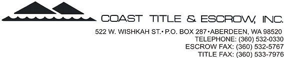 Coast Title & Escrow - sponsor Habitat for Humanity of Grays Harbor