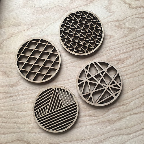 Geometric Bamboo Coasters by Light + Paper / Set of 4