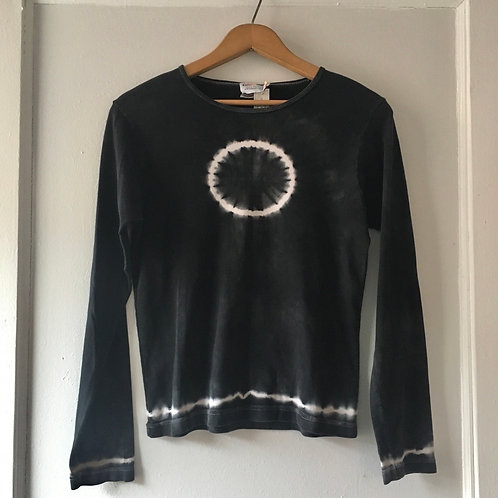 Deep Grey Tye Dye Bullseye Top / Women's Small