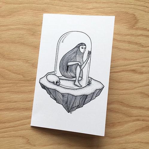 Lady in Terrarium Art Card / 5 in x 7 in