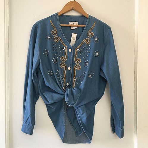 Embroidered and Beaded Denim Button-Up / Women's Medium