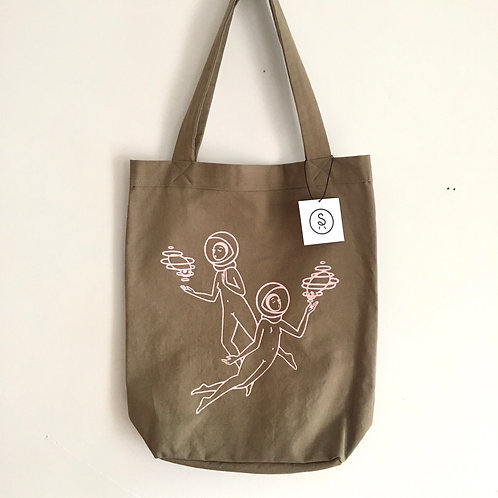 'FLOATING IN SPACE' Canvas Tote Bag / Hand Sewn and Screen-printed