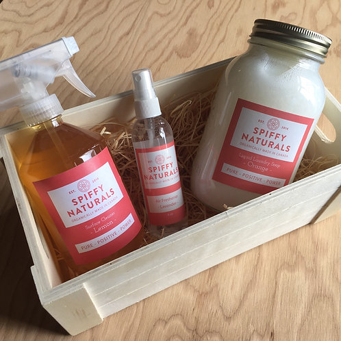 Spiffy Naturals Starter Box / Surface Cleaner, Room Spray, & Laundry Soap