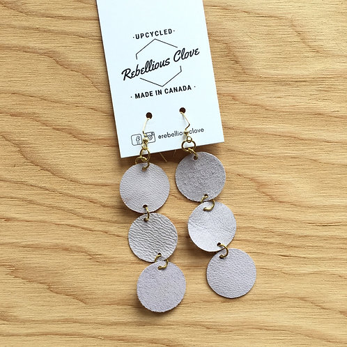 Mod Triplet Circle / Cut Leather Statement Earrings