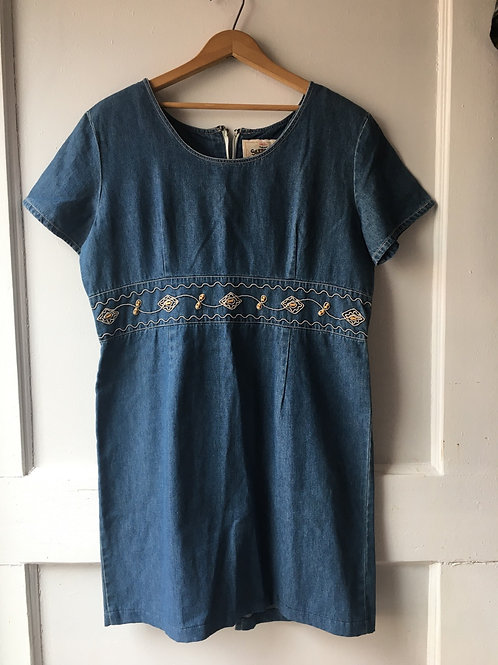 Denim Dress with Embroidery / Women's Large