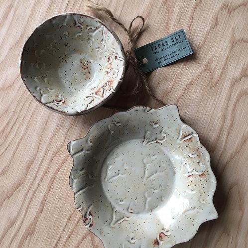 Earth Tone Fleur Stoneware Tapas Set / Plate & Bowl