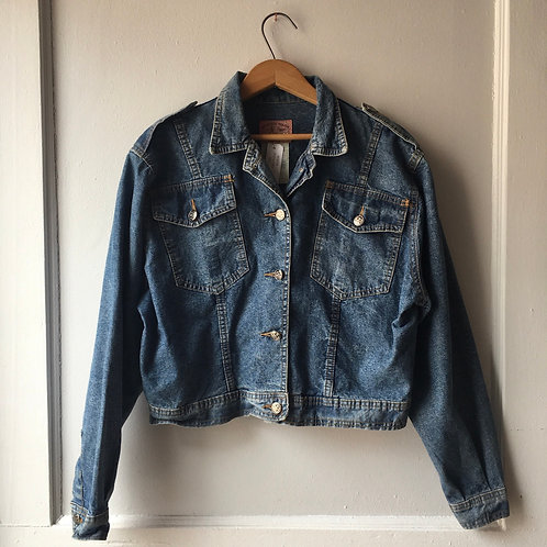 Rifle Crop Denim Jacket / Made in Italy / Women's Small - Medium