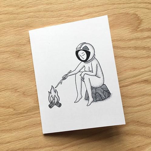 Space Camping Art Card / 4.25 in x 5.5 in
