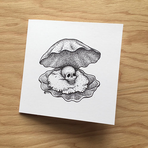Oyster Shell with Skull Pearl Art Card / 6 in x 6 in