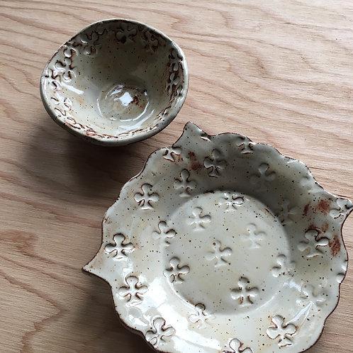 Earth Tone Clubs Stoneware Tapas Set / Plate & Bowl