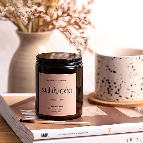 Tobacco + Oak Wooden Wick Soy Candle