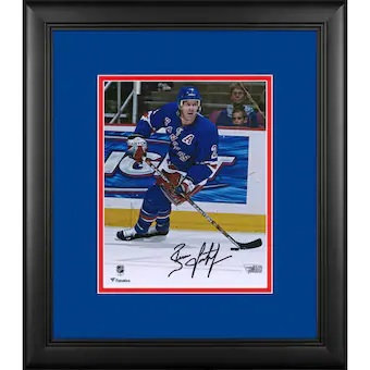 "Brian Leetch New York Rangers Framed Autographed 8"" x 10"" Blue Jersey Skating Ph"