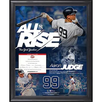 """Aaron Judge New York Yankees Framed 16"""" x 20"""" All Rise Collage with Printed Repl"""