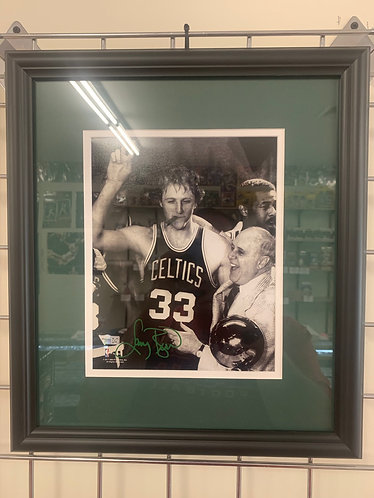 LARRY BIRD AUTOGRAPHED 8x10 FRAMED PICTURE W/RED!