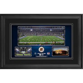 """Dallas Cowboys Framed 10"""" x 18"""" Stadium Panoramic Collage with Game-Used Footbal"""