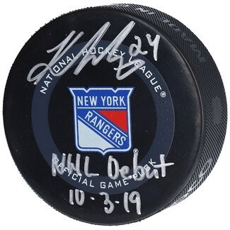"""Kaapo Kakko New York Rangers Autographed Official Game Puck with """"NHL Debut 10/3"""