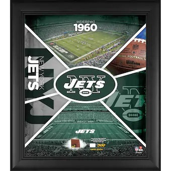 """New York Jets Framed 15"""" x 17"""" Team Impact Collage with a Piece of Game-Used Foo"""