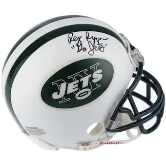 "Rex Ryan New York Jets Autographed Riddell Mini Helmet with ""Go Jets"" Inscribed"