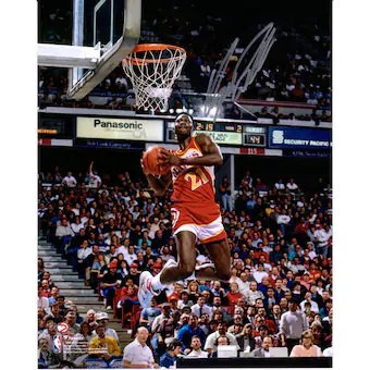 "Dominique Wilkins Atlanta Hawks Autographed 8"" x 10"" 1988 Dunk Contest Two Hand"