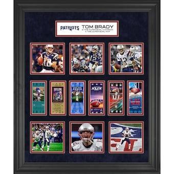 "Tom Brady New England Patriots Framed 23"" x 27"" 6-Time Super Bowl Champion Ticke"