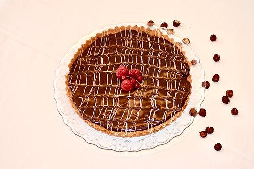 Chocolade hazelnoottaart met gezouten karamel