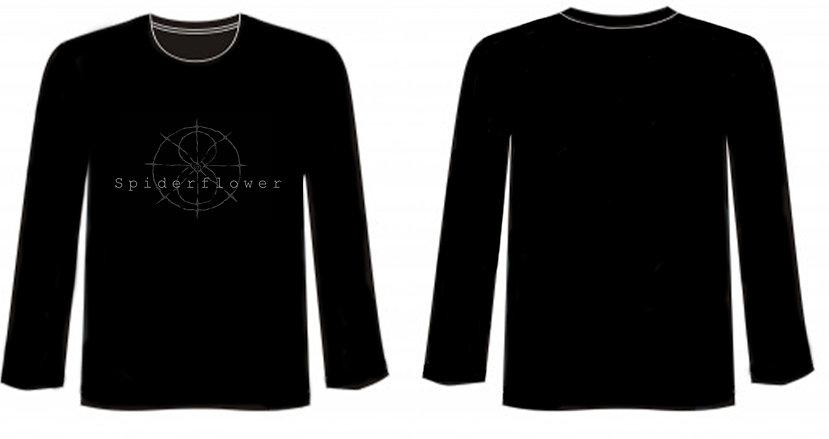Spiderflower Long Sleeved T-shirt - Logo - Greyscale