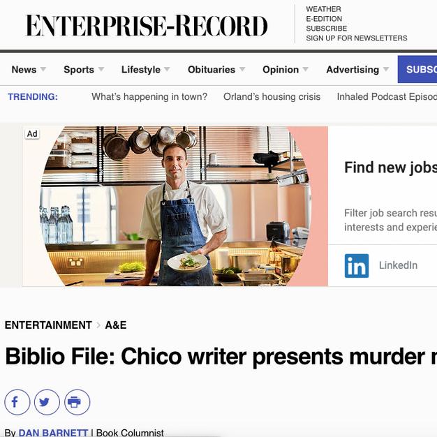 Biblio File: Chico writer presents murder mystery novel