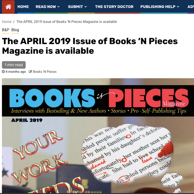 THE APRIL 2019 ISSUE OF BOOKS 'N PIECES MAGAZINE IS AVAILABLE