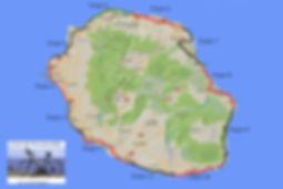 Les petites étapes du tour de l'île de La Réunion en vélo.