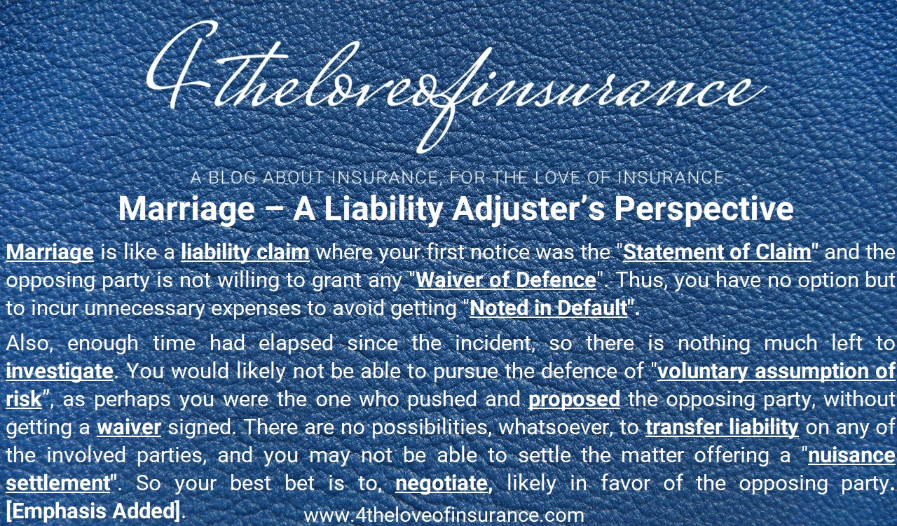 Marriage - A Liability Adjuster's Perspe