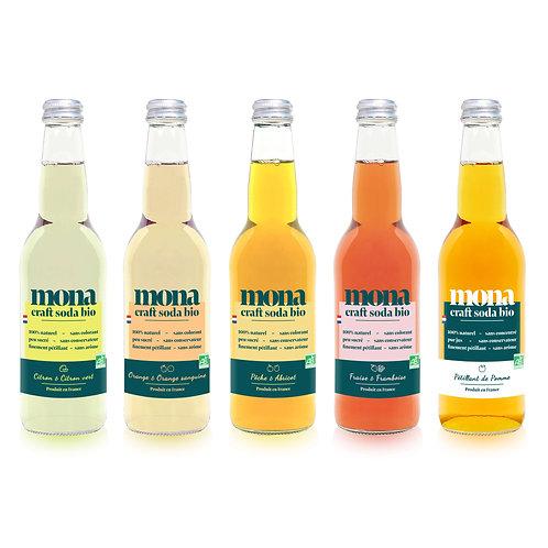 cinq bouteilles de limonade aux saveurs différentes vues de face