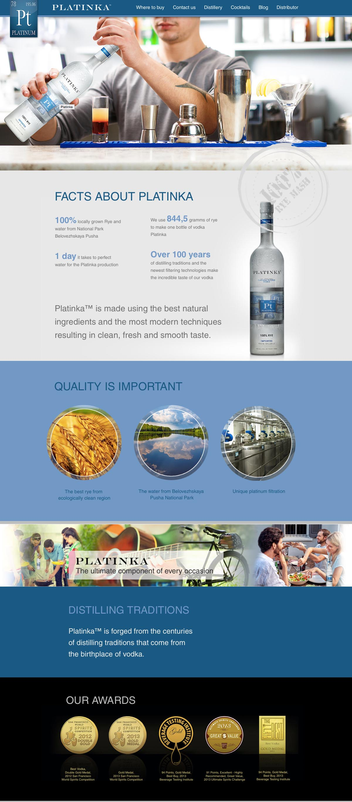 Platinka Vodka Brand Website