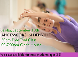Tuesday, September 10th, Open House and Free Trial Class in Danceworks Studio