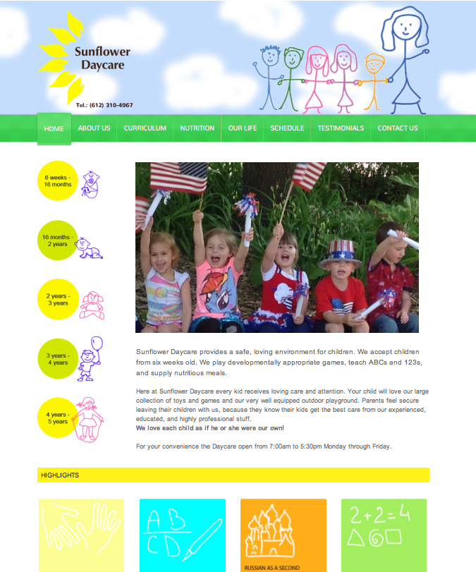 Sunflower Daycare Website Design