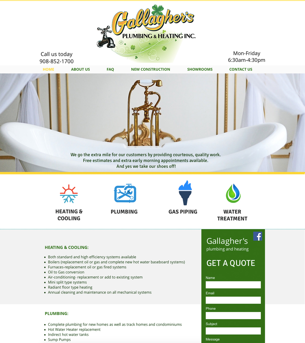 Gallaghers Plumbing Website Design