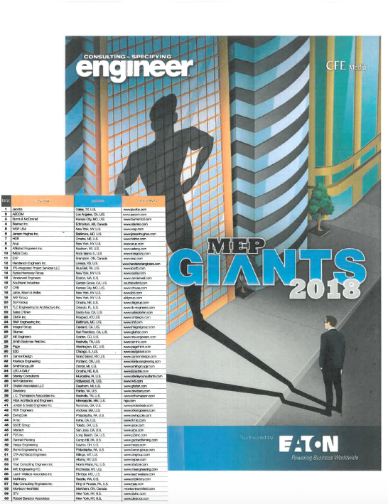 Triad Engineering is on the list of MEP Giants 2018