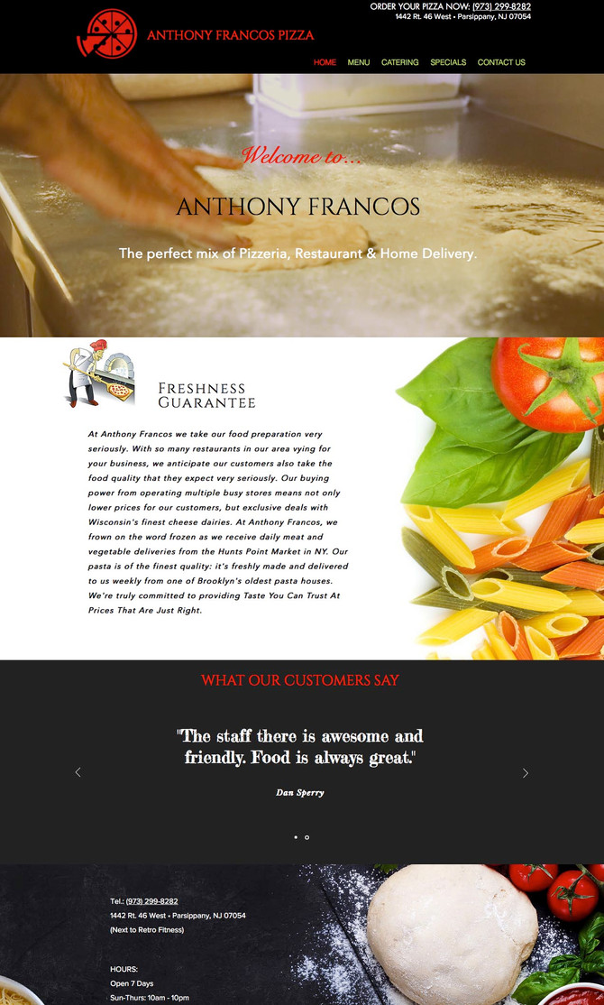 New Pizza Restaurant Website Created for Anthony Francos Pizza