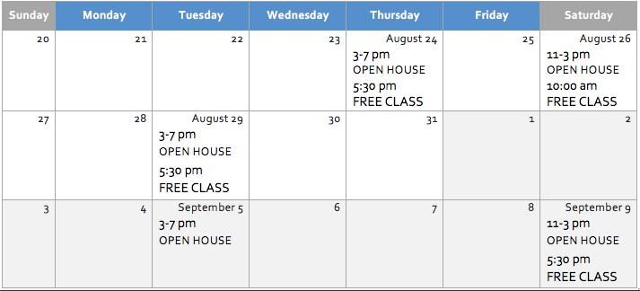 free dance class schedule