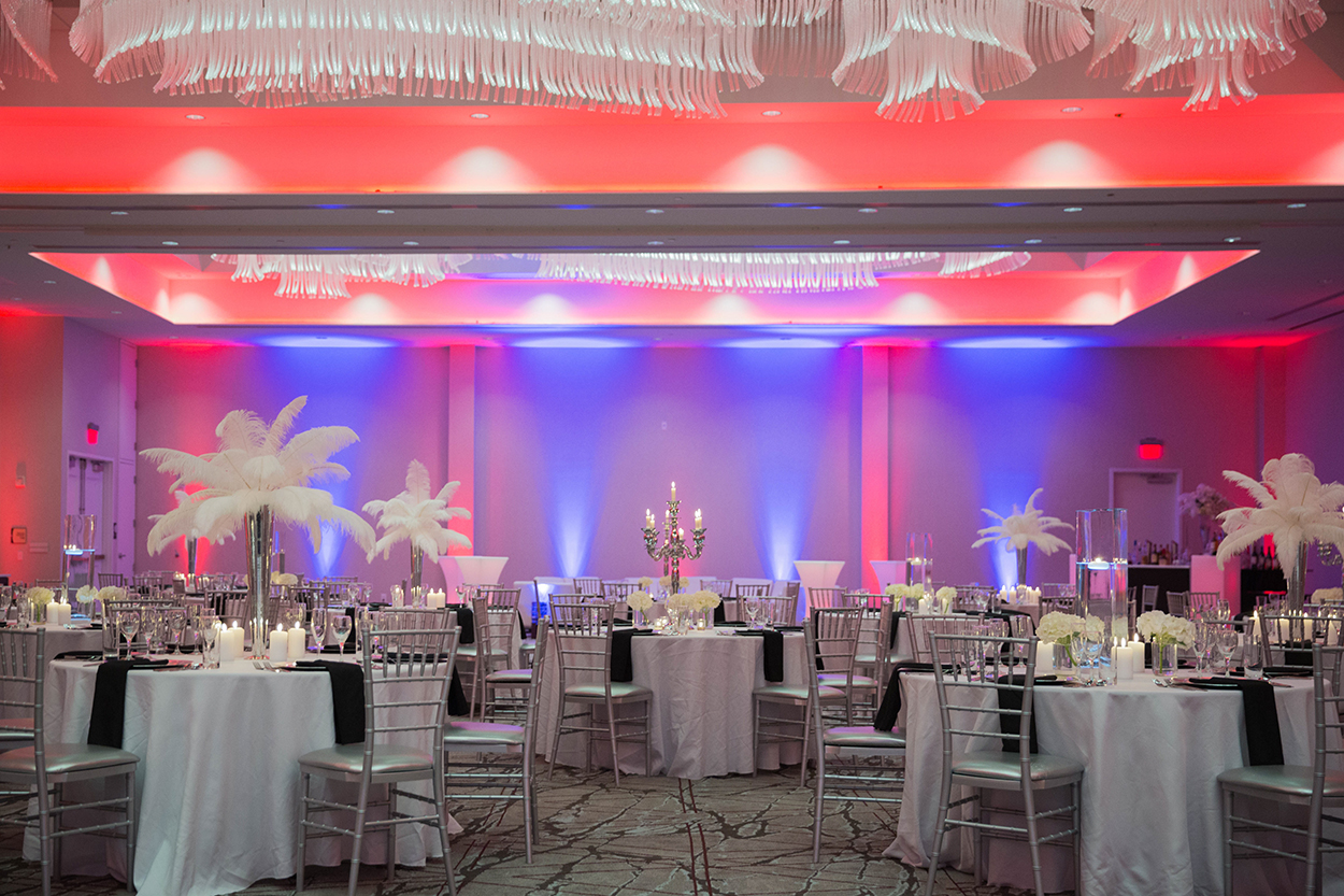 Ballroom lit by multi-colored LEDs