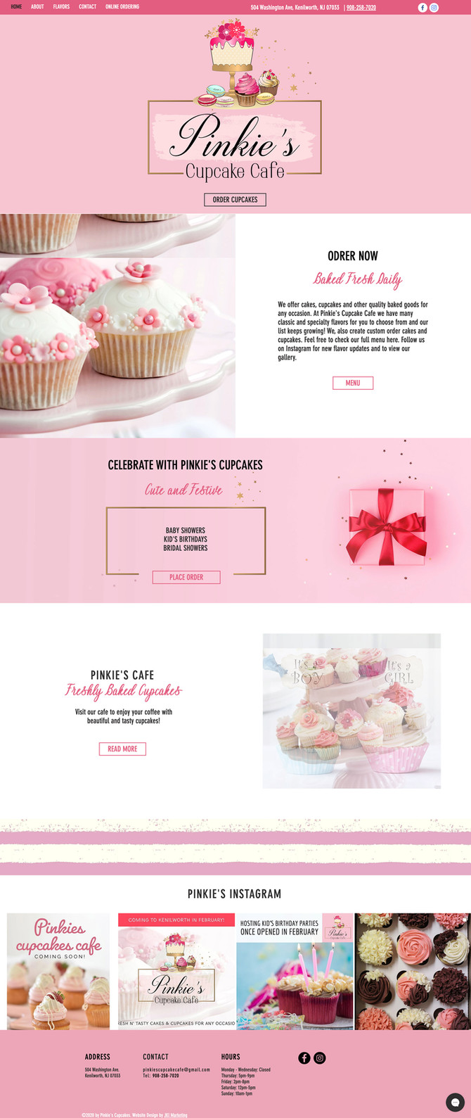 Website Design and Social Media Marketing for Pinkie's Cupcake Cafe