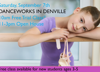 September, 7th, Open House and Free Trial Class at Danceworks in Denville