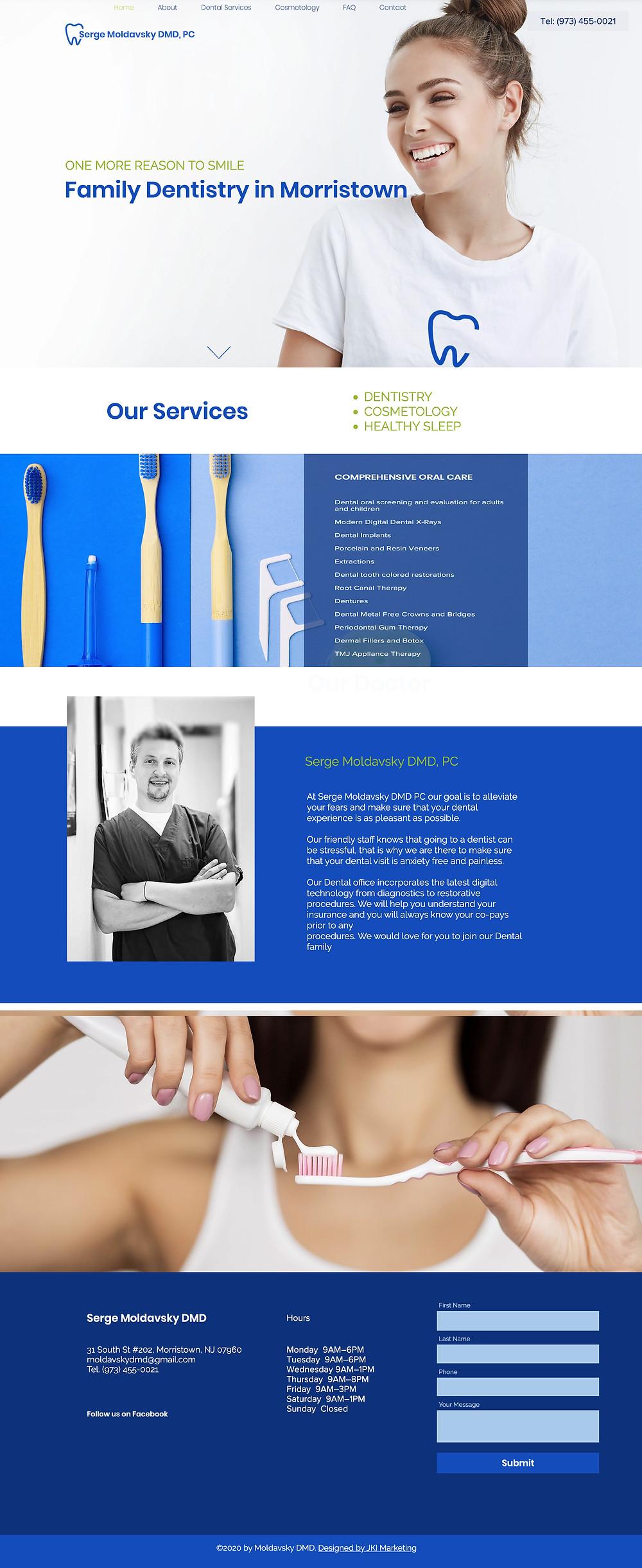 Web design for Family dentistry in Morristown, NJ