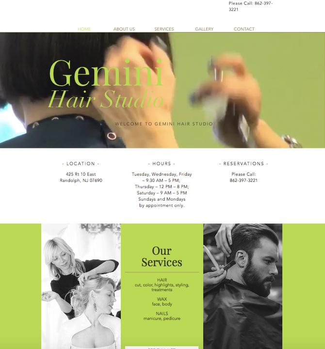 New Website for Gemini Hair Studio