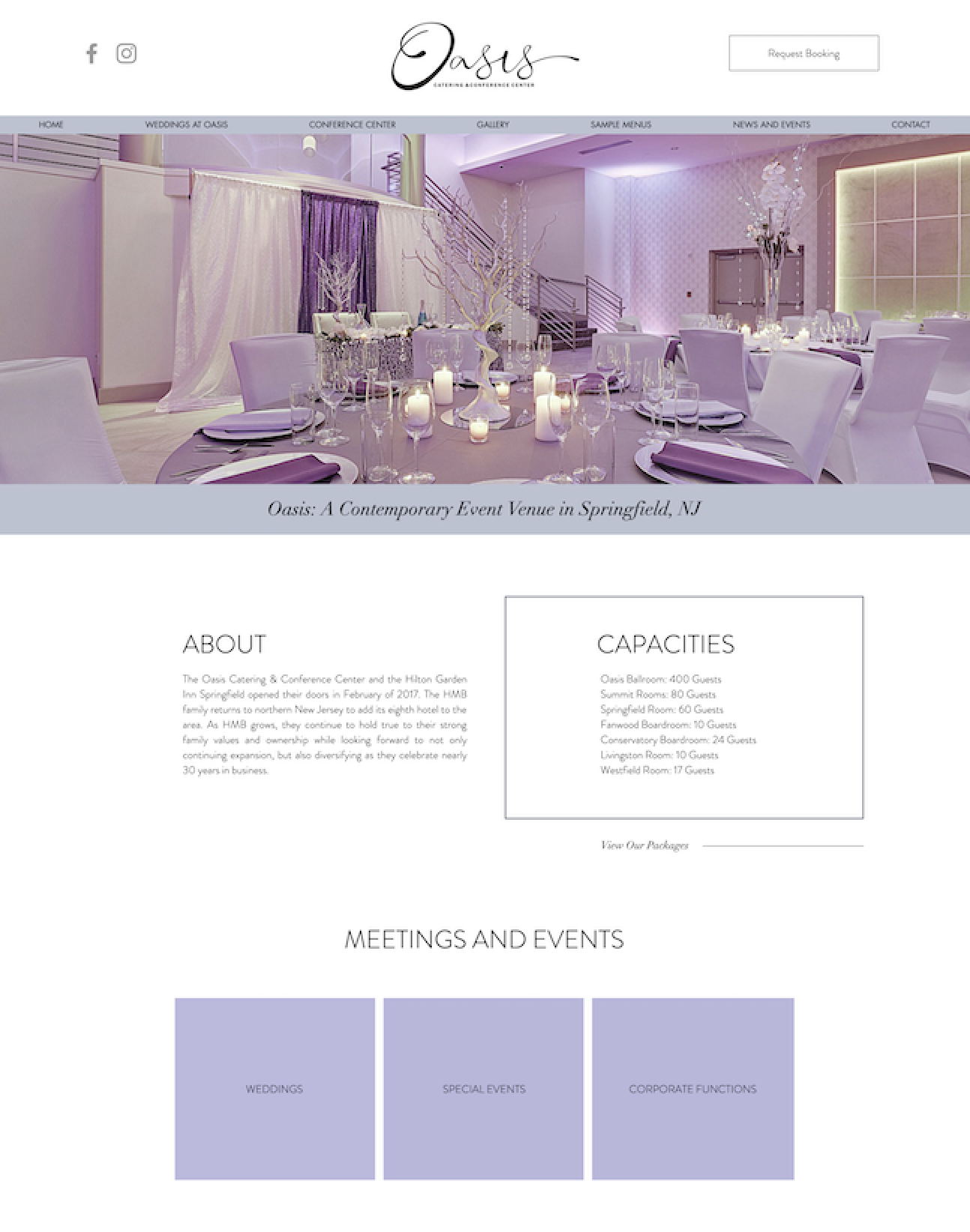 Oasis Event Center Website Design