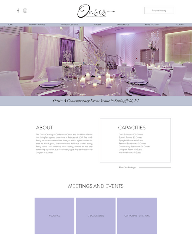 New Website Design and Local SEO for Oasis Event Center in Springfield, New Jersey