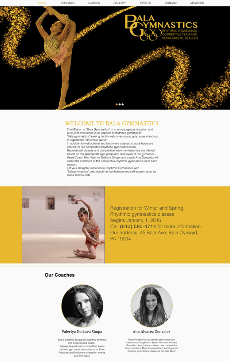 Bala Gymnastics Website Design